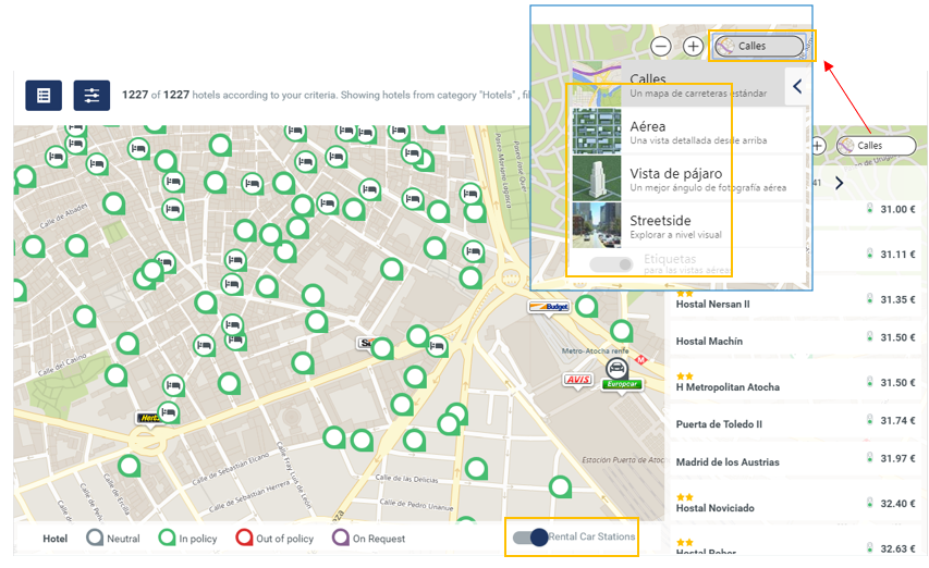 mapa hoteles cytric